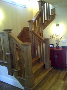 White Oak Traditional Staircase